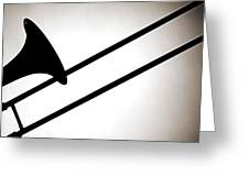 Trombone Silhouette Isolated Greeting Card by M K  Miller