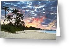Tropical Caribbean White Sand Beach Paradise at Sunset Greeting Card by Dave Allen