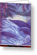 Tropical Dolphins Jumping Greeting Card by Anne-Elizabeth Whiteway