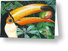 Tropical Rain Forest Toucan Greeting Card by Richard De Wolfe