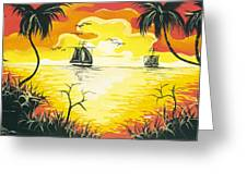 Tropical Sunset Greeting Card by Herold Alvares