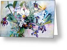 Tropical White Orchids Greeting Card by Mindy Newman