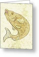 Trout Fish Jumping Greeting Card by Aloysius Patrimonio