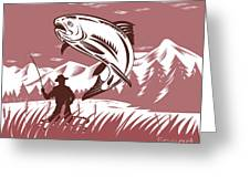 Trout Jumping Fisherman Greeting Card by Aloysius Patrimonio