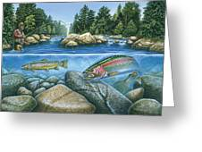 Trout View Greeting Card by JQ Licensing