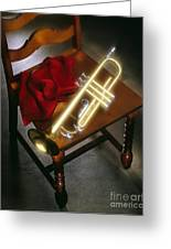 Trumpet On Chair Greeting Card by Tony Cordoza