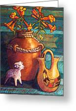 Trumpet Vines And Pottery Greeting Card by Candy Mayer
