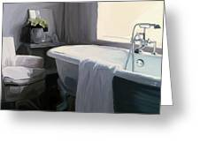 Tub in Grey Greeting Card by Patti Siehien