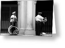 Tuba Player And Drummer Greeting Card by Todd Fox