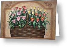 Tulip Basket Greeting Card by Linda Mears