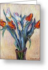 Tulips Greeting Card by Claude Monet