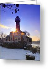 Turtle Rock Light House At Sunrise Greeting Card by Bill Cannon