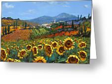 Tuscan Sunflowers Greeting Card by Chris Mc Morrow