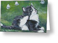 Tuxedo Kitten Greeting Card by Lee Ann Shepard