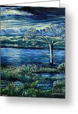 Twilight At The River Greeting Card by Caroline Street