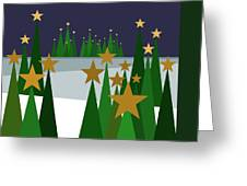 Twinkling Forest Greeting Card by Val Arie