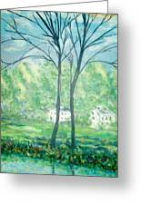 Twins By The Lake Greeting Card by Reina Resto