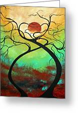 Twisting Love II Original Painting By Madart Greeting Card by Megan Duncanson