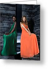 Two Beautiful Women In Elegant Long Dresses Greeting Card by Oleksiy Maksymenko