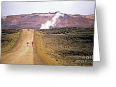Two Bikers On A Dirt Road Leading To A Geothermal Power Station At Myvatn Greeting Card by Sami Sarkis