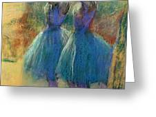 Two Blue Dancers Greeting Card by Edgar Degas