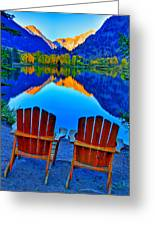 Two Chairs In Paradise Greeting Card by Scott Mahon