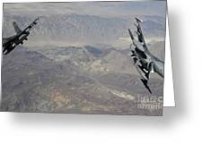 Two F-16 Fighting Falcons Break Greeting Card by Stocktrek Images