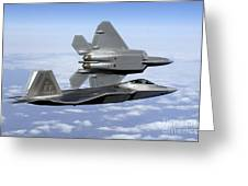 Two F-22a Raptors In Flight Greeting Card by Stocktrek Images