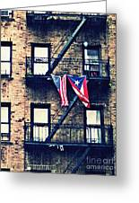 Two Flags In Washington Heights Greeting Card by Sarah Loft
