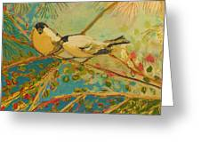 Two Goldfinch Found Greeting Card by Jennifer Lommers