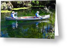 Two In A Canoe Greeting Card by David Lee Thompson