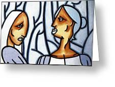 Two Ladies Greeting Card by Thomas Valentine