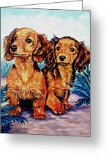 Two Peas In A Pod - Dachshund Greeting Card by Lyn Cook
