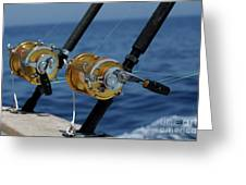Two Rod And Reels On Board A Game Fishing Boat In The Mediterranean Sea Greeting Card by Sami Sarkis