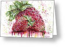 Two Strawberries Greeting Card by Arleana Holtzmann