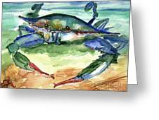 Tybee Blue Crab Greeting Card by Doris Blessington
