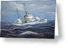 U. S. Coast Guard Cutter Sebago Takes A Roll Greeting Card by William H RaVell III