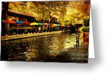 Umbrellas In The Riverwalk Greeting Card by Iris Greenwell