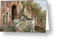 Un Caffe Al Fresco Sulla Salita Greeting Card by Guido Borelli