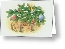Under The  Christmas Tree Greeting Card by Kestutis Kasparavicius