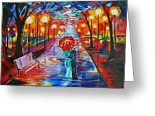 Unforgettable Kiss Greeting Card by Leslie Allen