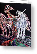Unicorn And Phoenix Merge Paths Greeting Card by Carol Law Conklin