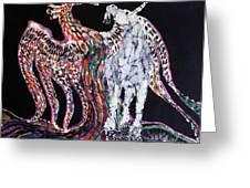 Unicorn and Phoenix Merge Paths Greeting Card by Carol Law Conklin