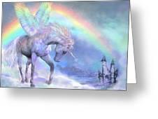 Unicorn Of The Rainbow Greeting Card by Carol Cavalaris