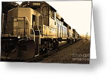 Union Pacific Locomotive Trains . 7d10588 . Sepia Greeting Card by Wingsdomain Art and Photography