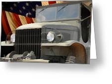 United States Army Truck and American Flag  Greeting Card by Anne Kitzman