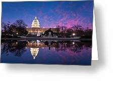 United States Capitol Building Christmas Tree Reflections Greeting Card by Mark VanDyke