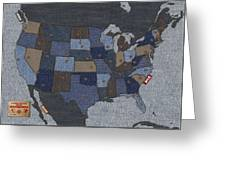 United States Of Denim Greeting Card by Michael Tompsett