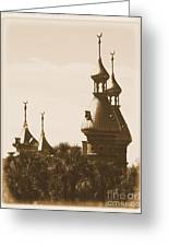 University Of Tampa Minarets With Old Postcard Framing Greeting Card by Carol Groenen