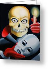 Unmasked - Skull Oil Painting Greeting Card by Mark Webster